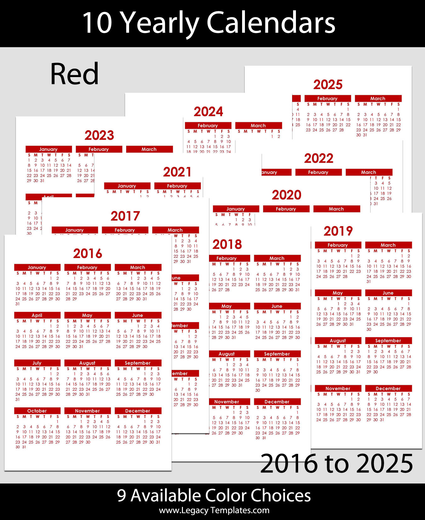 2016 to 2025 Yearly Calendar – A5 | Legacy Templates