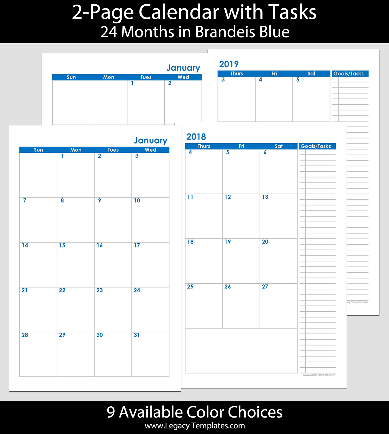 2018 & 2019 24-Months 2-Page Calendar – 5.5 x 8.5 | Legacy ...