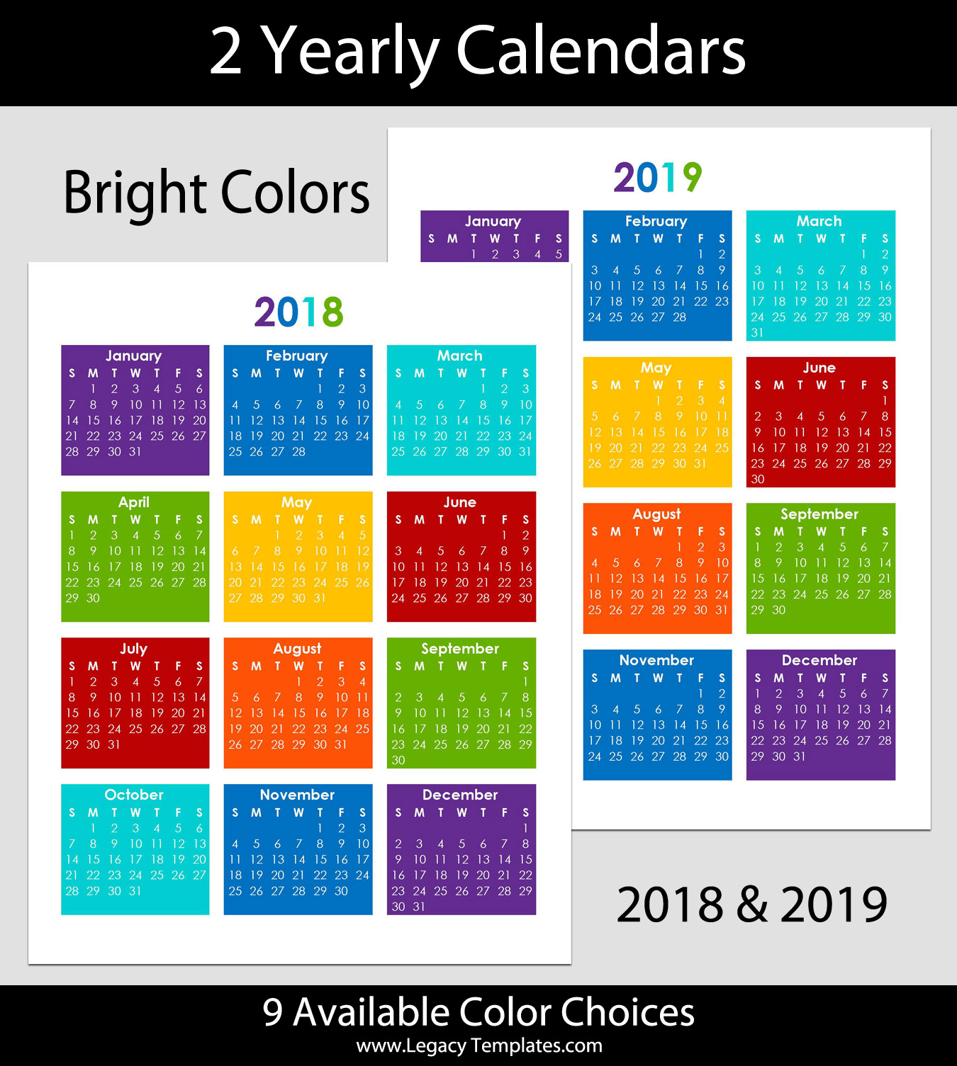 2018 & 2019 Yearly Calendar – 8.5 x 11 | Legacy Templates
